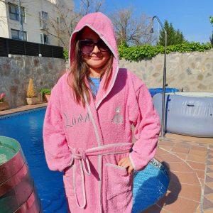 Albornoz bordado rosa bailarina personalizado