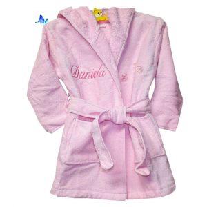 Albornoz Bebé Personalizado Rosa