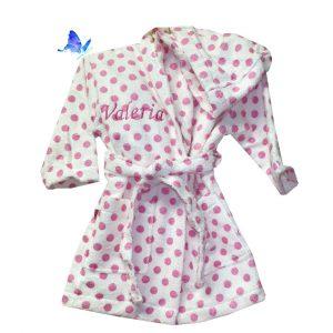 Albornoz Infantil Lunares Rosa Personalizado