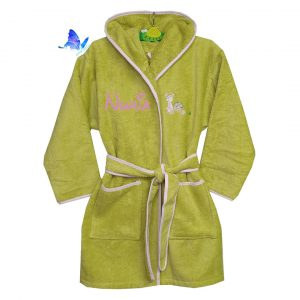 Albornoz Infantil Verde Personalizado Niña
