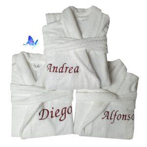 Albornoz Personalizado Unisex Blanco Bordado