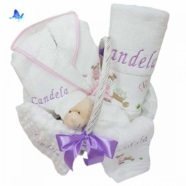 Canastilla Bebé Personalizada Albornoz Toallas Dou-dou
