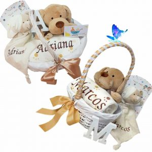 Canastilla Bebé Personalizada Manta Peluche y Dou dou