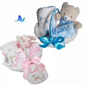 Canastilla Bebé Personalizada Peluche Manta Capa y Babero