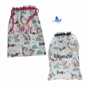 Bolsa merienda personalizada unicornio